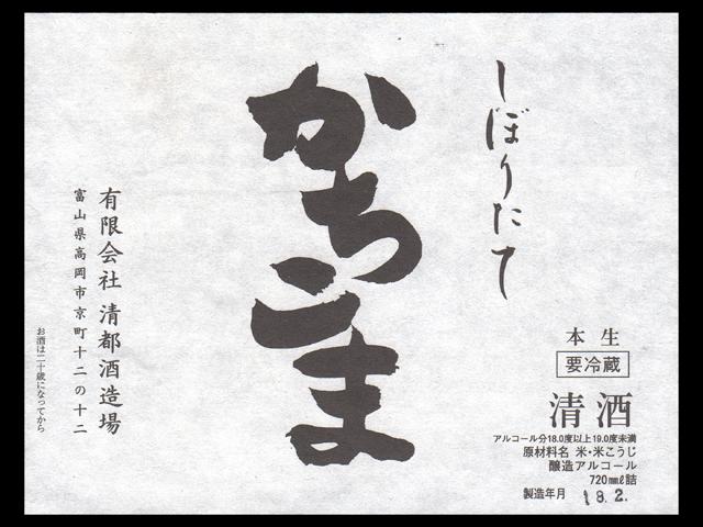 勝駒(かちこま)「普通酒」しぼりたて生原酒ラベル